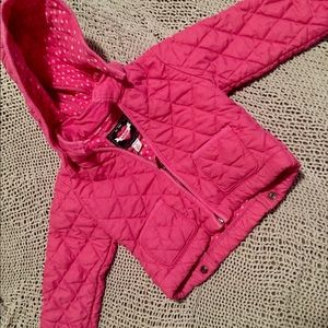 GUC 3T GAP Pink Quilted Lined Coat Hood